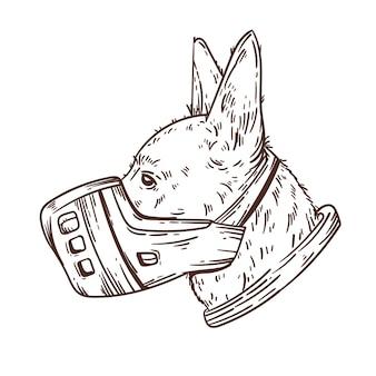 Gravur handgezeichneter maulkorbhund