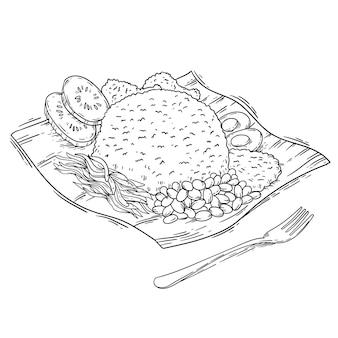 Gravur handgezeichneter nasi lemak