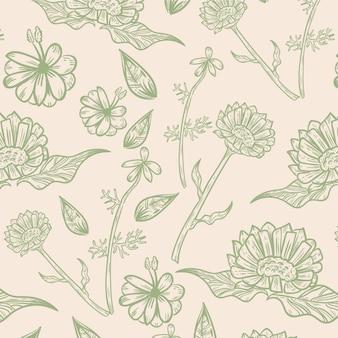 Gravur handgezeichnetes botanisches musterdesign