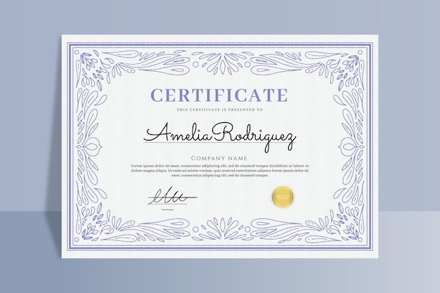 Gravur handgezeichnetes zierzertifikat