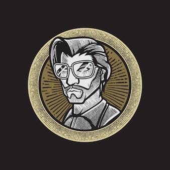 Gravur vintage barbershop logo, abzeichen design