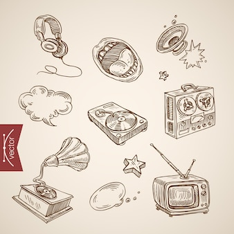 Gravur vintage handgezeichnete musikalische retro-ausrüstungssammlung.