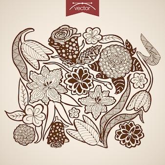 Gravur vintage handgezeichnete natürliche blumensammlung. bleistiftskizze tulpe, lilien blumengeschäft
