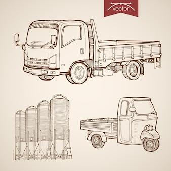 Gravur vintage handgezeichnete pickup, silos der betonmischanlage sammlung. frachttransport mit bleistiftskizze auf rädern