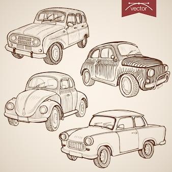 Gravur vintage handgezeichnete retro-autosammlung. bleistiftskizze transport auf rädern