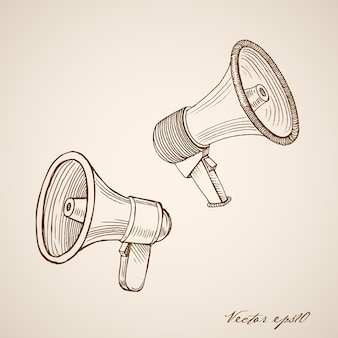 Gravur vintage handgezeichneten lautsprecher