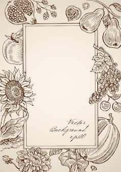 Gravur vintage handgezeichneten rechteckigen rahmen mit floralen elementen