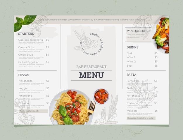 Gravurhand gezeichnete rustikale restaurantmenüschablone mit foto