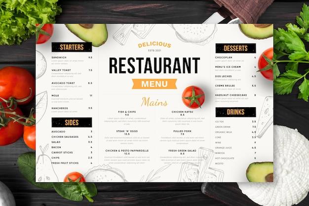 Gravurhand gezeichnete rustikale vertikale restaurantmenüschablone