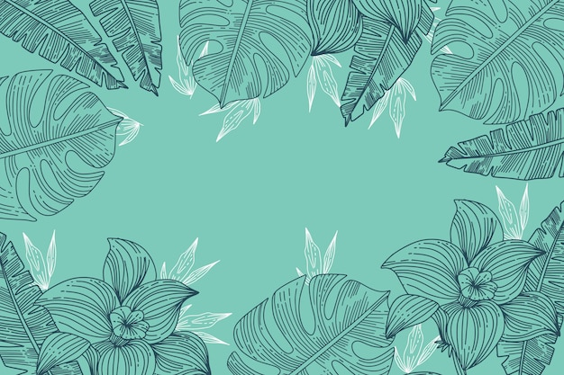 Gravurhand gezeichnete tropische blätter sommerhintergrund