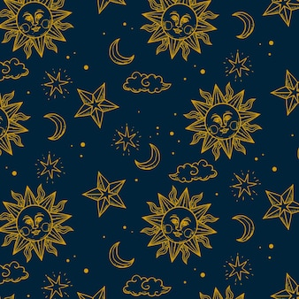 Gravurhand gezeichnetes goldenes sonnenmuster