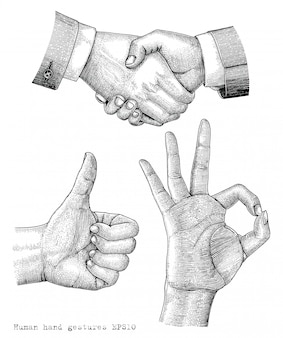 Gravurillustration der menschlichen handgestenzeichnung