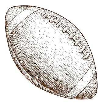 Gravurillustration des amerikanischen fußballballs