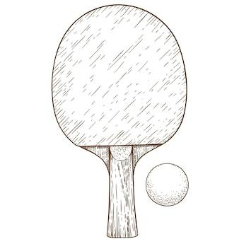 Gravurillustration von tischtennis-tischtennisschläger und -ball