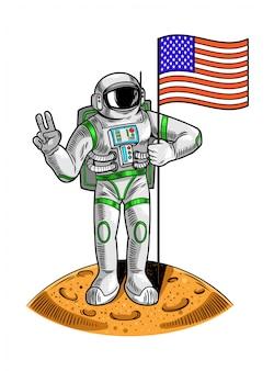 Gravurzeichnung mit astronauten-raumfahrer auf mond halten amerikanische usa-flagge den ersten flug des menschen auf mondraumprogramm apollo. weinlesekarikaturcharakterillustration für druck auf t-shirt