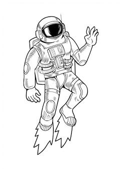 Gravurzeichnung mit astronauten-raumfahrer, der in einem speziellen raumanzug hochfliegt. vintage cartoon charakter illustration comics pop-art-stil isoliert