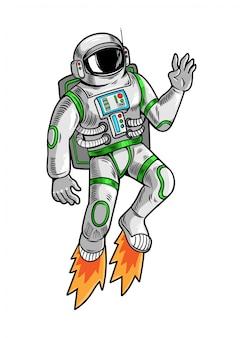 Gravurzeichnung mit astronauten-raumfahrer, der in einem speziellen raumanzug hochfliegt.