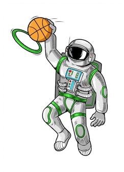 Gravurzeichnung mit astronauten-raumfahrer, die basketball spielen und slam dunk machen.