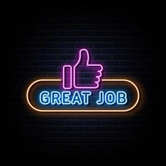 Great job neon signs vector design template neon style