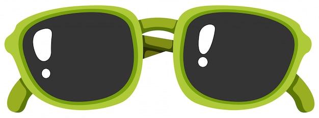 Greem sonnenbrille auf weißem hintergrund