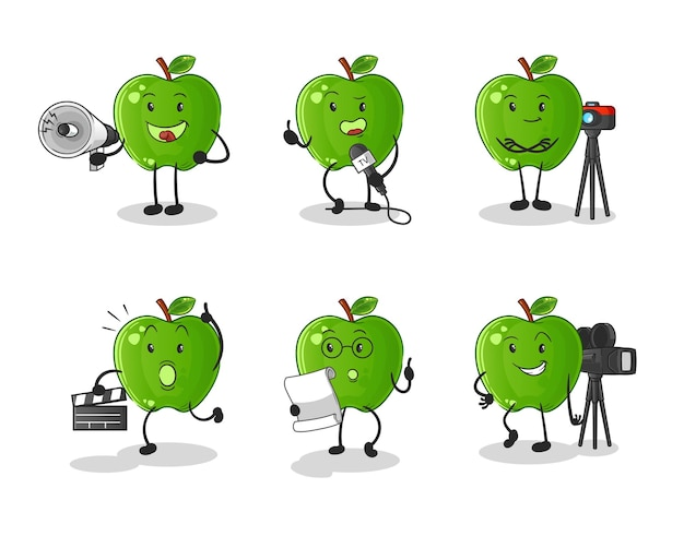 Green apple entertainment group charakter. cartoon maskottchen