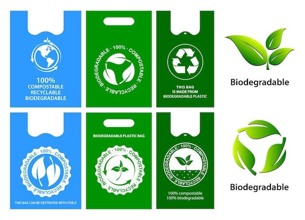 Green bag-konzept oder wiederverwendung von biologisch abbaubarem kunststoff reduzieren und recycelbares konzept eps-vektor