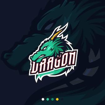 Green dragon esport gaming maskottchen logo