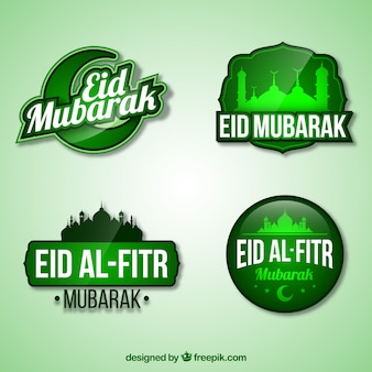 Green eid al fitr logo kollektion