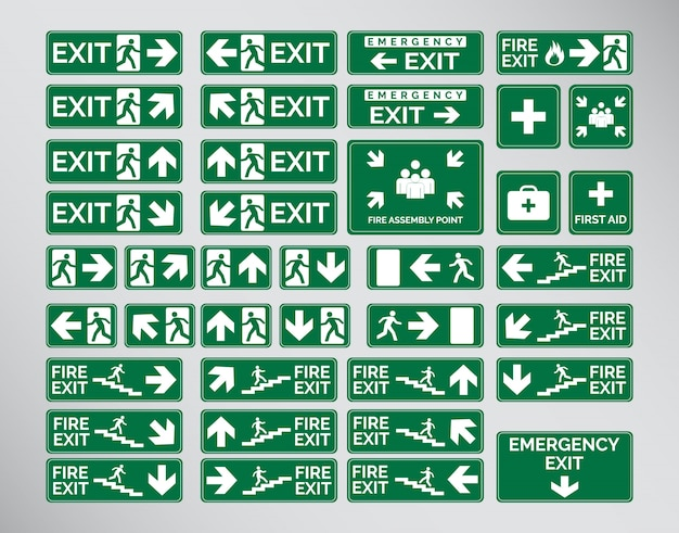 Green emergency exit signs, icon und symbol set vorlage design