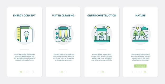 Green energy industry line-technologie ux ui onboarding mobiler app-seitenbildschirmsatz.