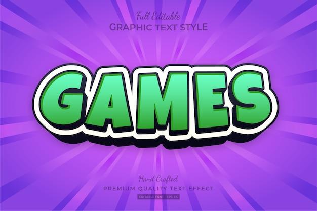 Green games cartoon bearbeitbarer texteffekt-schriftstil