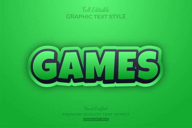 Green games cartoon bearbeitbarer textstil-effekt premium