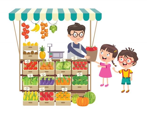 Green grocer shop mit verschiedenen früchten und gemüse