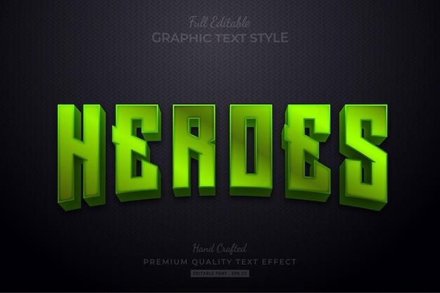 Green heroes bearbeitbarer texteffekt-schriftstil Premium Vektoren