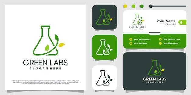 Green labs logo mit einzigartigem konzept premium-vektor