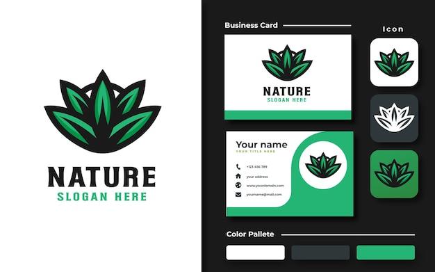 Green leaf logo template branding set