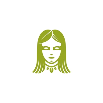 Green leaf woman face logo vorlage