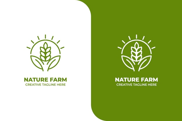 Green nature weizenfarm monoline logo