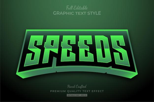 Green speeds racing bearbeitbarer texteffekt-schriftstil Premium Vektoren