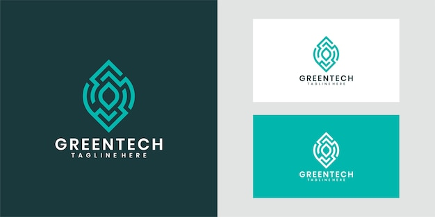 Green tech logo template design, kreatives symbol.