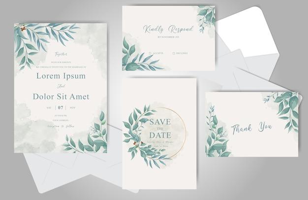 Greenery wedding einladungskarten bündel vorlage