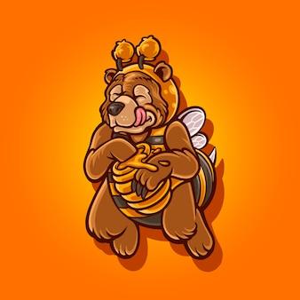 Greezlebee. illustration des charakters grizzlybär mit honigbienenkostüm