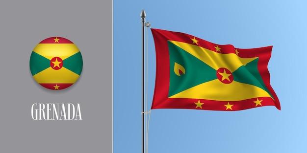 Grenada wehende flagge am fahnenmast und runde symbolvektorillustration. realistisches 3d-modell mit design der grenadischen flagge und kreistaste