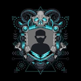 Grenz-avatar mit schädel-gehörnter heiliger geometrie