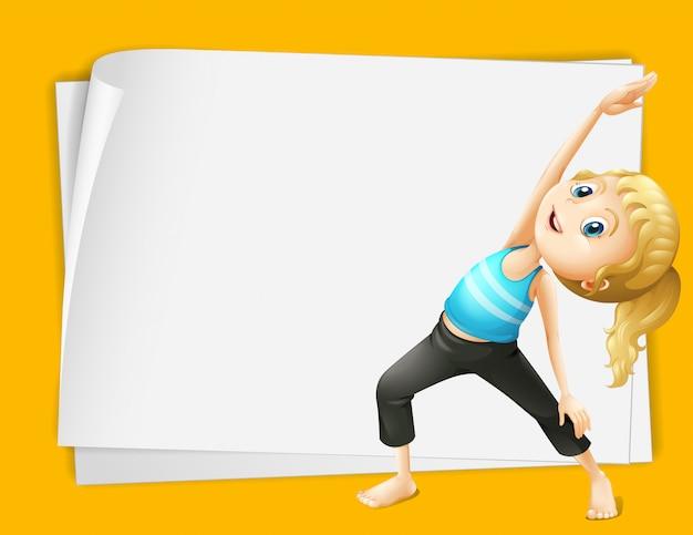 Grenzdesign mit der frau, die yoga tut
