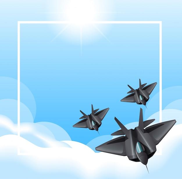 Grenze mit den düsenflugzeugen, die in himmel fliegen