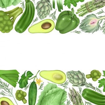 Grenzen von grünem gemüse