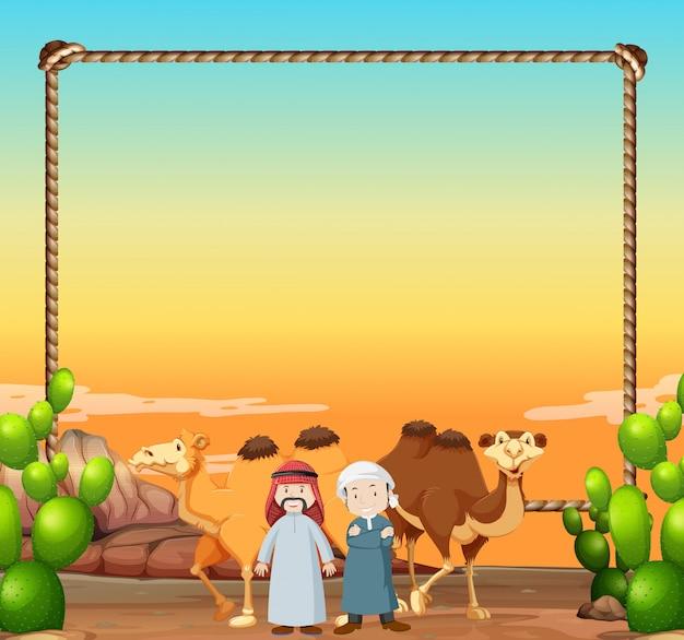 Grenzschablone mit kamelen und arabischen männern