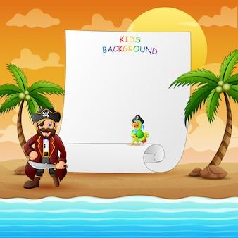 Grenzschablone mit pirat am strand