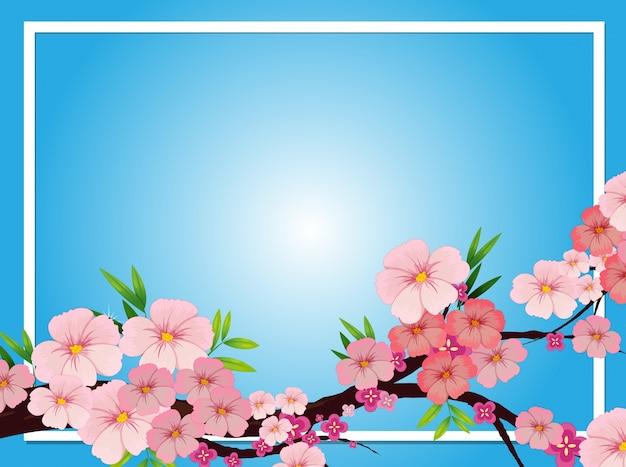 Grenzschablone mit rosa blütenblumen